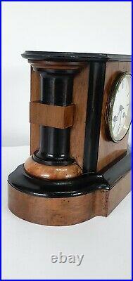 French Chiming Walnut and Ebony Mantle Clock