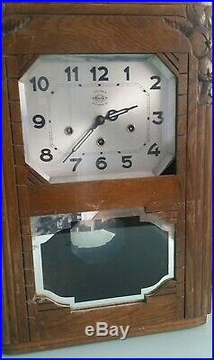 French Ornate Girod Westminster Chime Wall Clock With Key And Pendulum Works