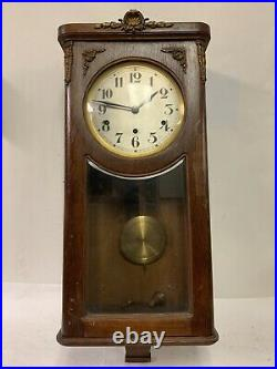 French Vedette Westminster Chime Wall Clock 1920s Vintage Antique Nice! Works
