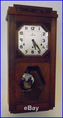 French Vedette Westminster chiming wall clock circa 1935 (Fully Restored)
