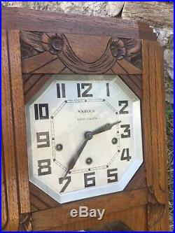 French Vintage WOODEN CHIME WALL CLOCK JURA VERITABLE WESTMINSTER 8 Tigs Artdeco