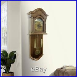 Full Grandfather Clock Wall Hanging Westminster Chime Wood Decor Furniture Oak