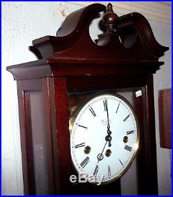 GOOD SIZE WESTMINSTER CHIMING WALL CLOCK, SOLID MAHOGANY CASE, COMITTI of LONDON