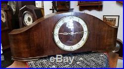 German Art Deco English Walnut Westminster Chime Mantel Clock
