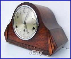German Art Deco Oak Westminster Chiming Mantle Clock