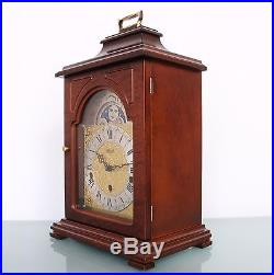 German HERMLE CLOCK Mantel MOONPHASE! Westminster 3 MELODIES Chime Vintage Shelf