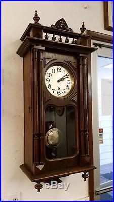 German Haller & Benzing Walnut Westminster Chime Wall Clock