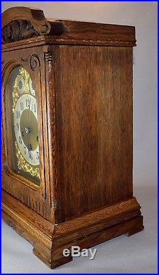German Junghans Oak Cased Westminster Chime 8 Day Mantel Clock 1909
