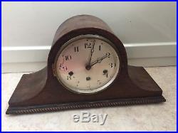 German Oak Napoleon Case Westminster Chimes Mantle Clock 8H 16W 6D