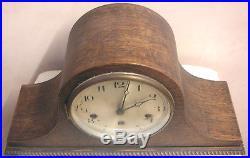 German Oak Napoleon Case Westminster Chimes Mantle Clock 9H 17W 6D