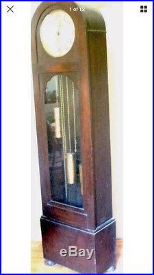 German Urgos Oak 3 weights driven Movement Westminster chimes Grandfather Clock