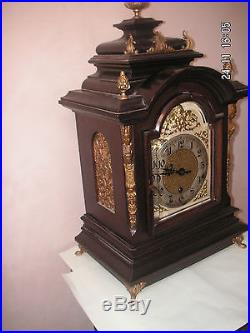 German Victorian gilt-metal mounted Mahogany Westminster Chime Mantle Clock 20H