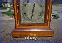 German Westminster Chime Large Shelf Mantle Clock Marquetry Inlay Three Dial