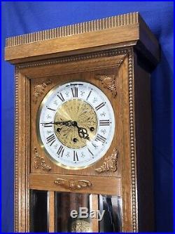 Germany TRIPLE Westminster Chime Oak CASE & Pendulum, Keywound Wall Clock