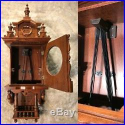 Germany TRIPLE Westminster Chime Walnut CASE &Pendulum, Keywound Wall Clock