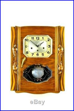 Gorgeous French Art Deco Westminster Chime Wall Clock approx. 1930, 2 Melodies