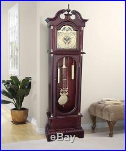 Grandfather Clock Floor Pendulum Westminster Chimes Cherry Finish Wood Decor