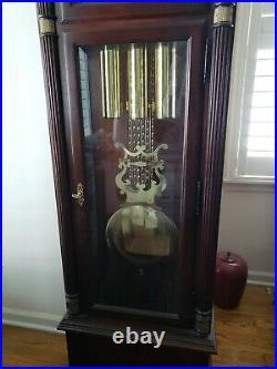 Grandfather Clock Howard Miller Triple-Chime Floor Mahogany Veneer Cherry Stain