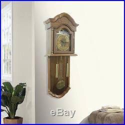 Grandfather Wall Clock Hanging Oak Wood Pendulum Westminster Chimes Home Decor