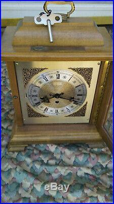 HAMILTON WESTMINSTER CHIME BRACKET MANTLE CLOCK WithKEY- 340-020 W. GERMANY