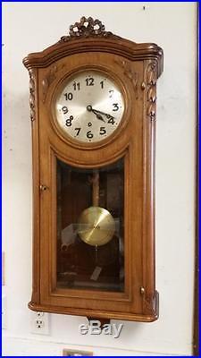 Hamburg-American Clock Co. HAC Walnut Westminster Chime German Wall Clock