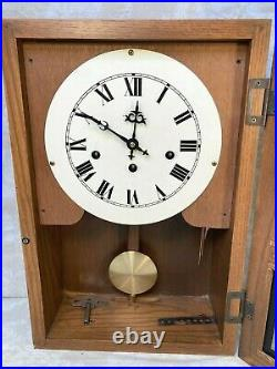Hamilton Oak Wall Regulator Clock Westminster Chimes Running