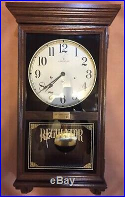 Hamilton Regulator Wall Clock Westminster Chime with Key Vintage Large Wood Case