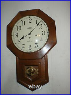 Hamilton Wall Clock 8 Day Key Wound Westminster Chime Walnut Case Beautiful