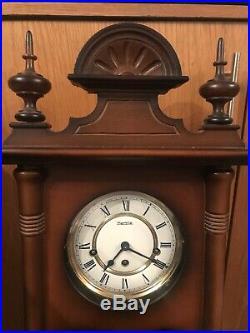 Hermle Mechanical Regulator Wall Clock Walnut Westminster Chime Used