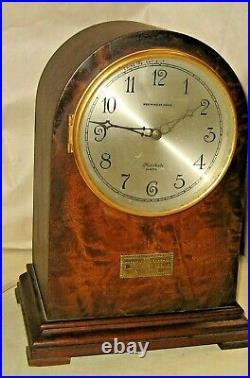 Herschede Cincinnati Round Top Westminster Chime Electric Mantel Clock Working