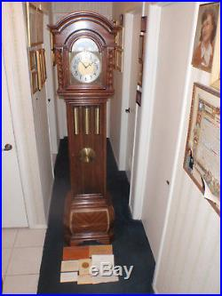 Herschede Westminster Chime Grandfather Clock Stunning Wood Grains & Scrolling
