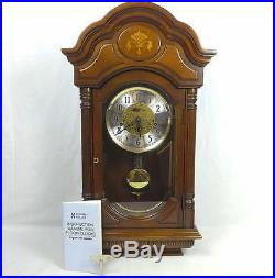 Howard Miller 613-302 Wall Clock Westminster Triple Chime Cherry Inlaid Wood