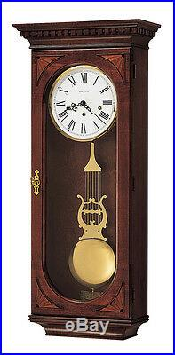 Howard Miller, Cherry Finished With Overlays, Chiming Wall Clock 613-637 Lewis