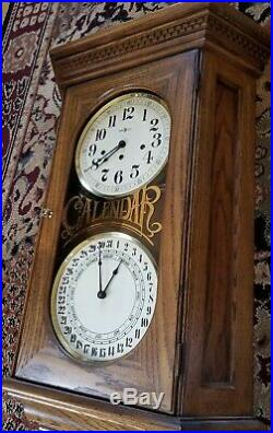 Howard Miller Double Dial Calendar Clock Westminster Chimes