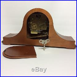 Howard Miller / Red Oak Tambour Style Case Westminster Chime Mantel Clock