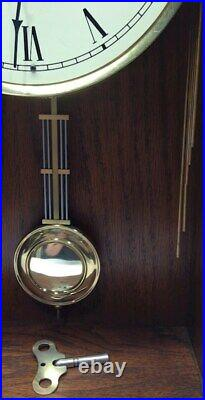 Howard Miller Wall Clock Solid Oak Key Wound Westminster Chimes Works Perfectly