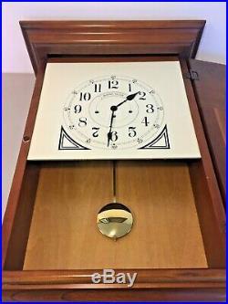 Howard Miller Wall Clock Westminster Chimes Runs Model 612-309 Nice Wood Case