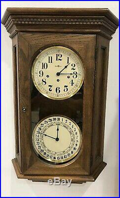 Howard Miller Westminster Chime Calendar Wall Clock Works #612-545 Double Dial