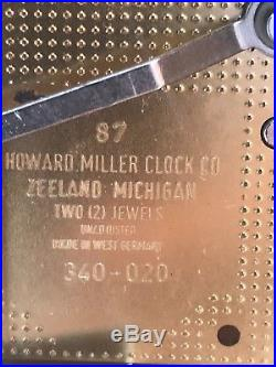 Howard Miller Westminster Chime Mantel Clock 340-020 (87) Two Jewels With Manual