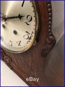 Huge Antique Junghans Westminster Chime Mantle Clock Art Deco Carved Superb Case