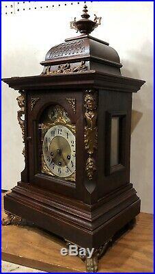 Huge Junghans Westminster German Black Forest Chime Bracket Mantel Table Clock