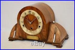 Impressive 1935 German Art Deco Walnut Westminster Chime Vintage Mantel Clock
