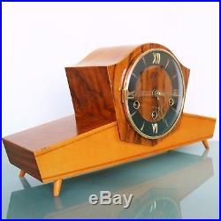 JUBA SCHATZ Mantel Clock Vintage WESTMINSTER Chime HIGH GLOSS German Mid Century