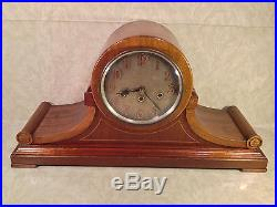Junghans B21 Mantel Clock Light Mahogany Case Great Face Westminster Chimes