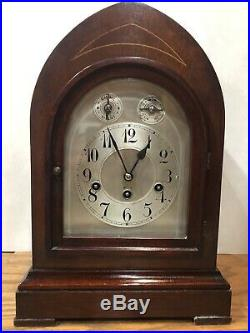 Junghans Beehive Westminster Chime Bracket Mantel Clock Inlayed Marquetry