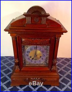 Junghans Carved Walnut Mantle Clock with Westminster Chimes c. 1900Fine & Rare