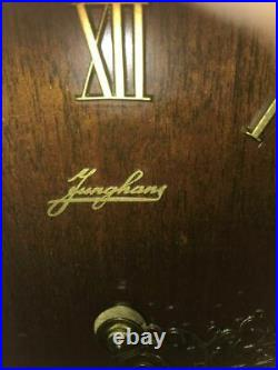 Junghans English Walnut Westminster Chime Bracket Clock withkey, chime shut off