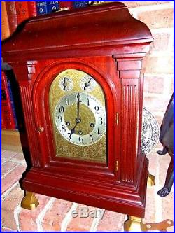 Junghans German Grand Westminster Rod Chime Mahogany Mantle Clock A-10 Dual Sub