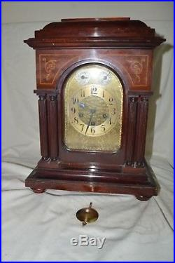 Junghans German Inlaid Wood Bracket Mantle Clock Westminster Chime Pillar Key
