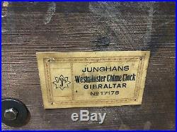 Junghans Gibraltar German Westminster Mantel Shelf Table Bracket Chime Clock